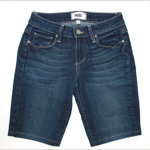 PAIGE Pants - PAIGE 'Kylie Crop' Long Dark Wash Bermuda Shorts